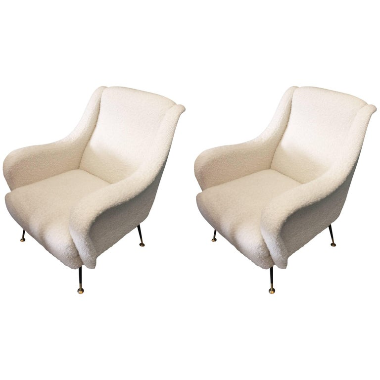Beautiful Reupholstered Pair of Italian Armchairs For Sale