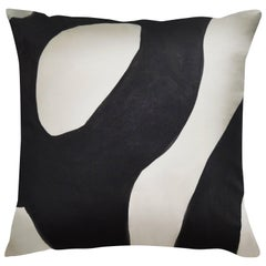 Unique Contemporary Doublesided Tangled in Black and White Handmade Linen Pillow
