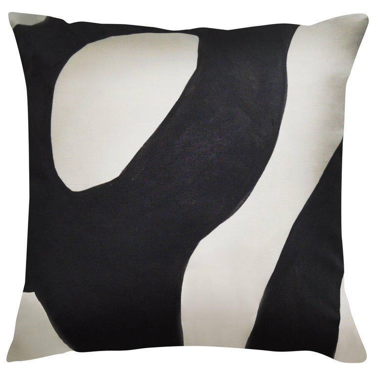 Unique Contemporary Doublesided Tangled in Black and White Handmade Linen Pillow For Sale at 1stdibs
