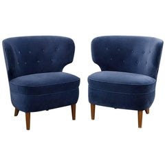Pair of Velvet Blue Chairs by Sven Staaf, Sweden, circa 1940