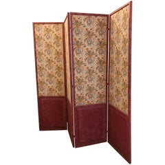 French Four-Paneled Screen, circa 1835, with Hand-Blocked Wallpaper