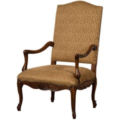 Antique French Louis XV Style Walnut Armchair 'Fauteuil', circa 1880