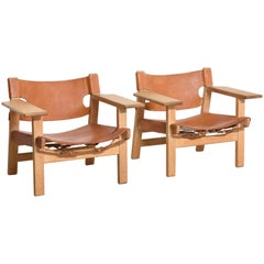 Pair of Spanish Chairs in Oak and Leather by Børge Mogensen, circa 1958