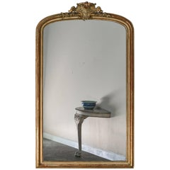 Large Antique French Louis Philippe Mirror Régence Cartouche, circa 1885
