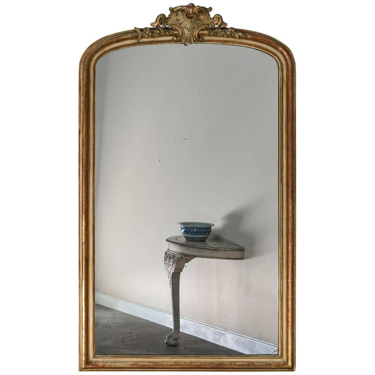 Large Antique French Louis Philippe Mirror Régence Cartouche, circa 1885 For Sale