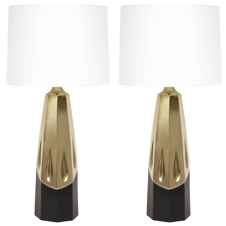 Laurel Brutalist Brushed Brass Lamps