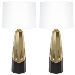 Laurel Brutalist Brushed Brass Lamps