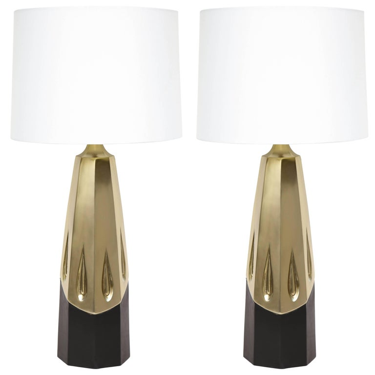 Laurel Brutalist Brushed Brass Lamps For Sale