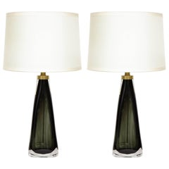 Nils Landberg/Orrefors Dark Bottle Green Lamps