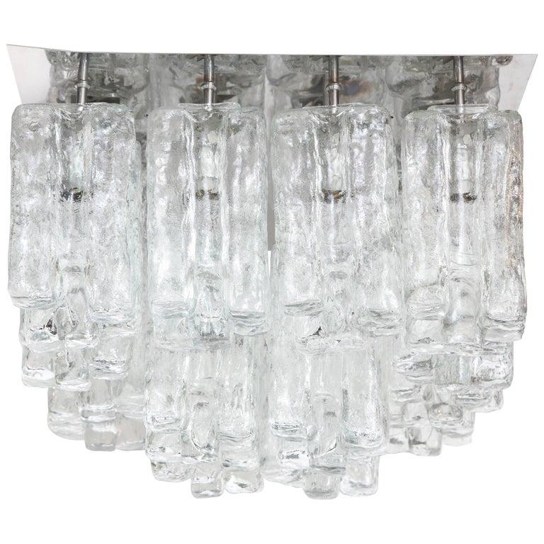 Kalmar Ice Glass Flush Mount For Sale