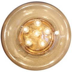 Large Amber Glass Sconce or Flush Mount by Limburg
