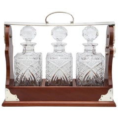 Edwardian Silver Plate, Mounted Wood Case Three Decanter Tantalus
