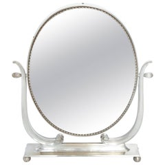 Vanity Mirror Art Deco Italy 1930s Silver Plate Adjustable
