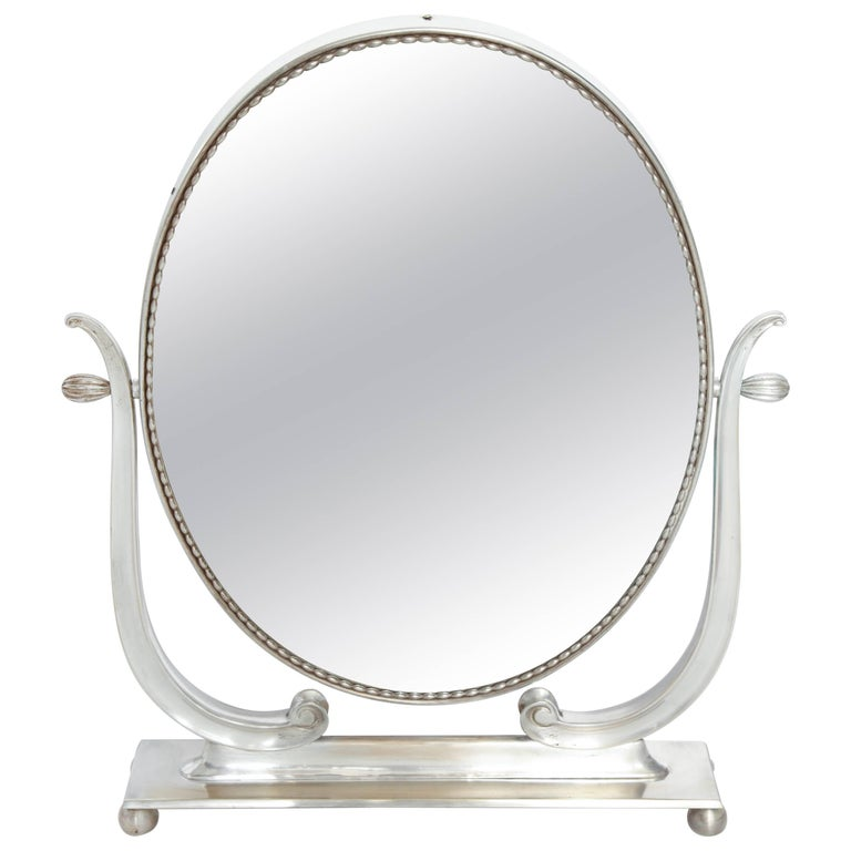 Vanity Mirror Art Deco Italy 1930s Silver Plate Adjustable For Sale
