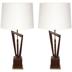 Pair of Mid-Century, 1950s Sculptural Wood and Brass Table Lamps