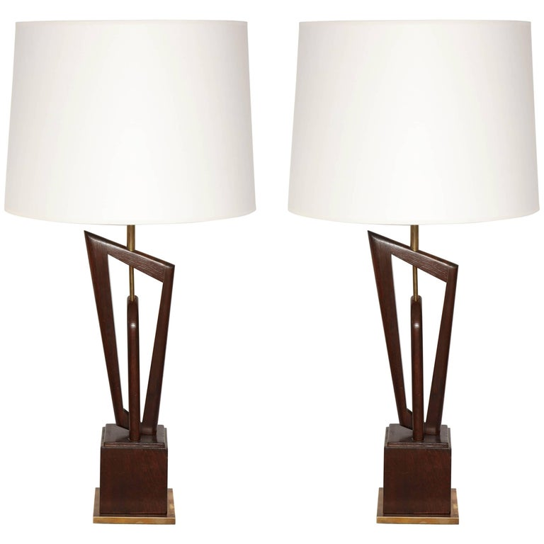 Pair of Mid-Century, 1950s Sculptural Wood and Brass Table Lamps For Sale