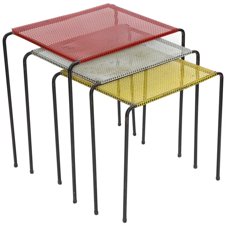 Attributed to Mategot Mid-Century Modern Metal Nesting Tables, France, 1950s For Sale