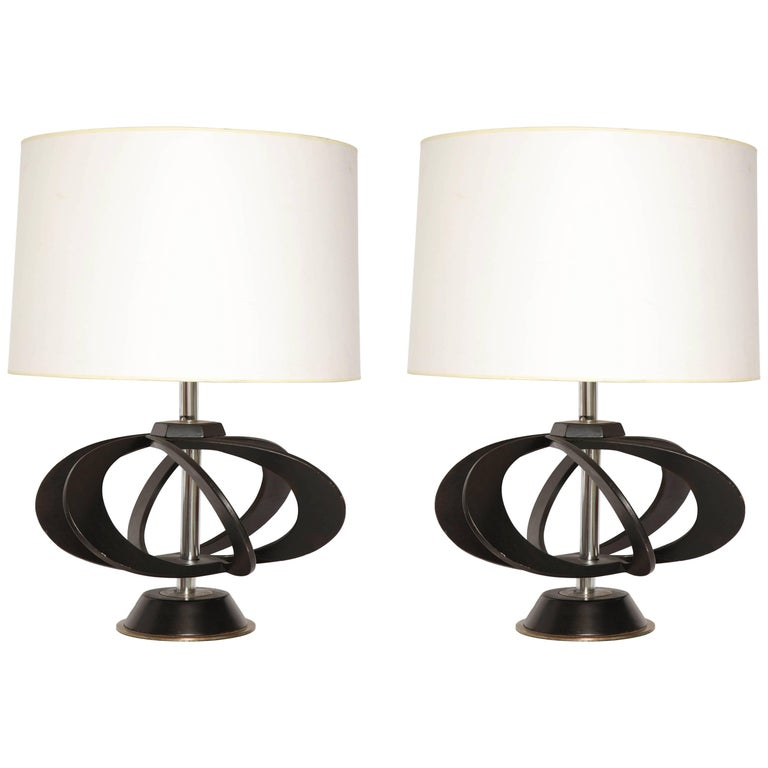 Pair of Mid-Century 1950s Sculptural Table Lamps