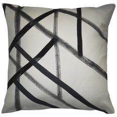 Unique Contemporary Double-Sided Black and White Sticks Handmade Linen Pillow