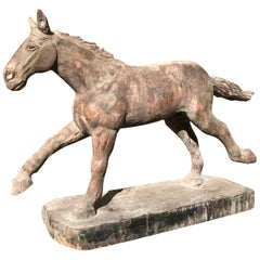 Japanese Big Antique Galloping Horse Hand-Carved & polychrome, fine details