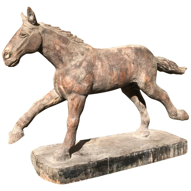 Japanese Big Antique Galloping Horse Hand-Carved & polychrome, fine details For Sale