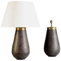 Pair of Punched Metal Lamps