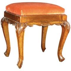 18th Century, Italian Walnut Wood Stool with Velvet Upholstery