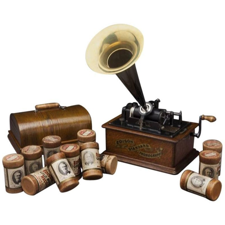 Early 20th Century Oak Edison Cylinder Phonograph with Casing and 12 Records For Sale