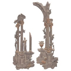 Grand Tour Style Italian Carved Temple Ruins, Stamped 'Palladio'