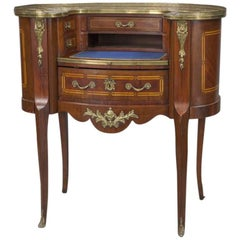 Early 20th Century French Louis XV Carved Mahogany Kidney Shaped Ladies Desk