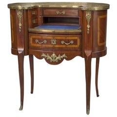 Early 20th Century French Louis XV Carved Mahogany and Bronze Lady Table Desk