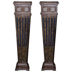 Pair of 18th Century, Italian, Carved Wood, Faux-Marbleized Pedestals
