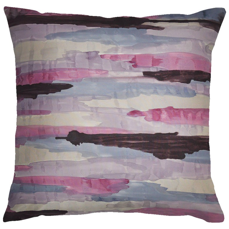 Unique Contemporary Double-Sided Promenade in Lavender Handmade Linen Pillow For Sale at 1stdibs