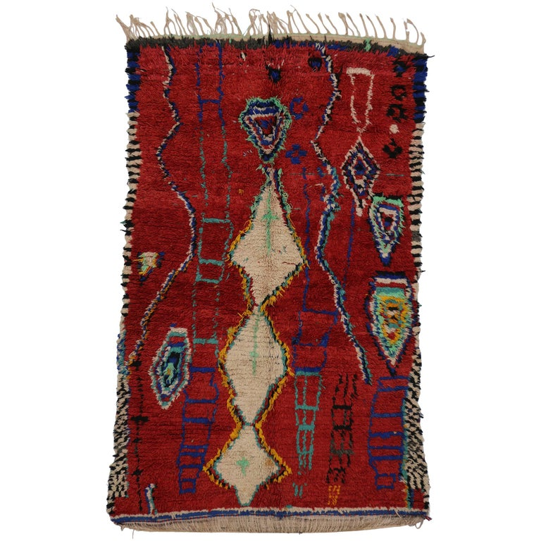 Vintage Berber Red Moroccan Rug With Tribal Design At 1stdibs