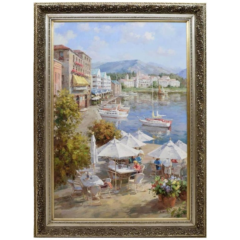 Oil Canvas Painting Impressionistic Style Harbor Yacht Boat Ocean Landscape