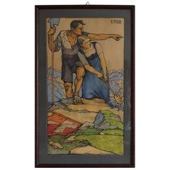 1924 Propaganda Style Art Deco Drawing Switzerland and French Revolutionary Wars