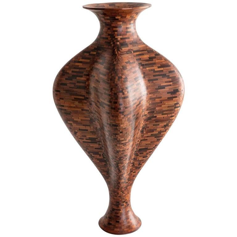 California Redwood Scalloped Vase, NYC WaterTower, Handmade, Sculpture, In Stock