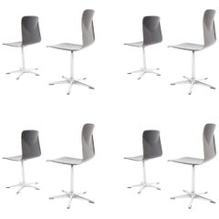 Eight Pieces Flototto Pagholz Dinning Adjustable Chairs, 1970s