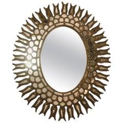 Oval Sunburst Mirror with Foliage Motif