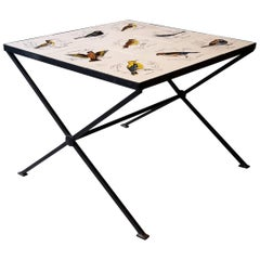 20th Century French Coffee Table Made of Metal, Painted Birds on Ceramic, 1960s