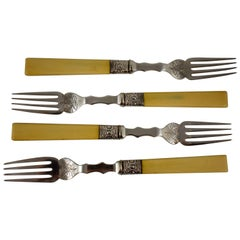 John Round & Sons Natural Bone and Sheffield Silver Engraved Forks, Set of Four