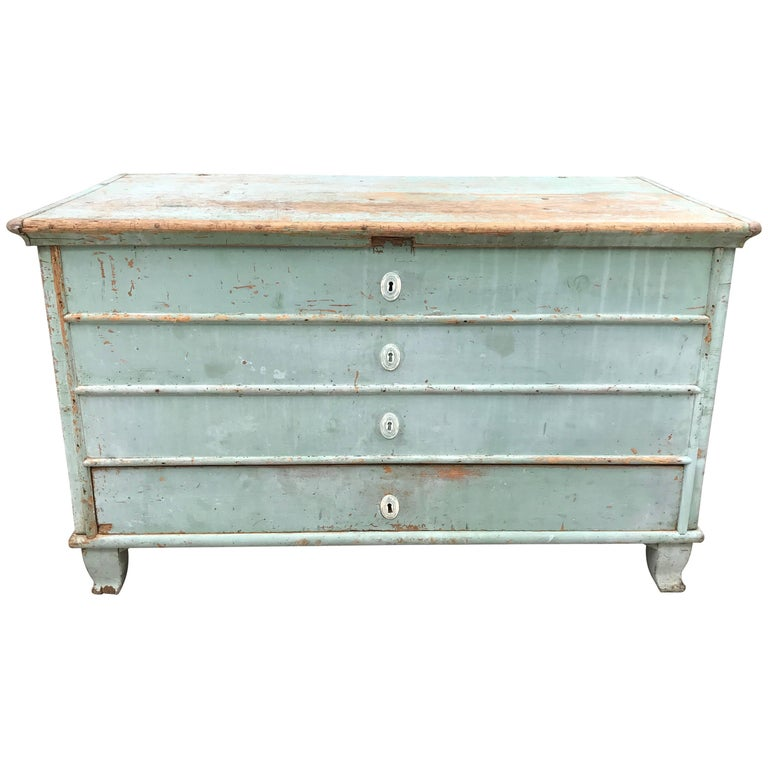 Blue Painted Swedish Chest 1