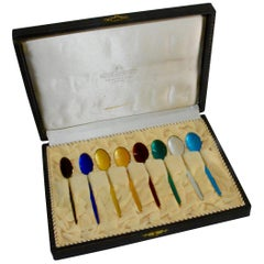 David-Andersen Norwegian Sterling Silver and Enamel Demitasse Spoon Set in Case
