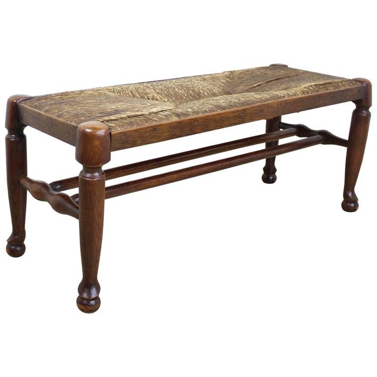 Antique English Rush Seated Stool