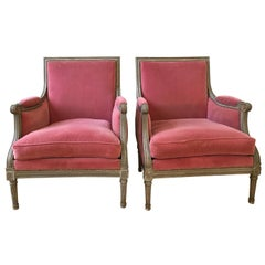 Pair of Velvet Louis XVI Bergère Armchairs