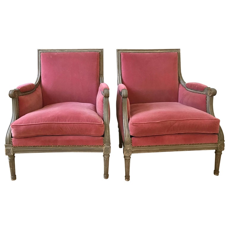 Pair of Velvet Louis XVI Bergère Armchairs 1