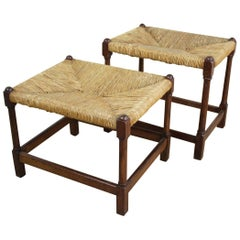 Pair of Antique English Rush-Seated Stools