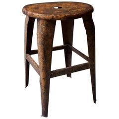 Early 20th Century French Nicolle Stool Made of Metal, 1930s