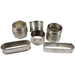 Sterling Silver Antique Napkin Rings, Mixed Set of Six
