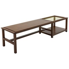 Walnut and Brass Coffee Table with Integral Magazine Rack by Dunbar